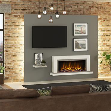 """Elgin & Hall 57"""" Pryzm Vardo 5D Wall Mounted Electric Fire Suite Cashmere and Anthracite"""