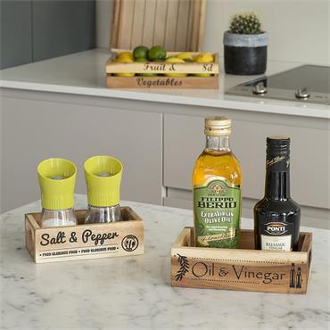 T&G Woodware Baroque Crate Box Oil & Vinegar