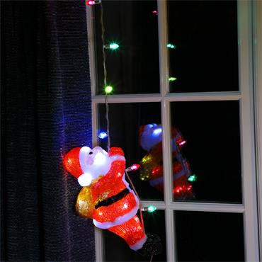 Noma 30cm Acrylic Climbing Santa With String Lights
