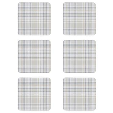 Denby Elements Checks Natural Coasters 6pk