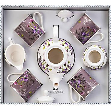 Newgrange Purple Thistle Tea Set Bone China 7pce