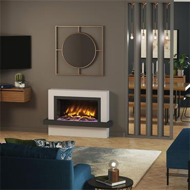 "Elgin & Hall 47"" Pryzm Vardo 5D Wall Mounted Suite Ash White with Oak Grey"