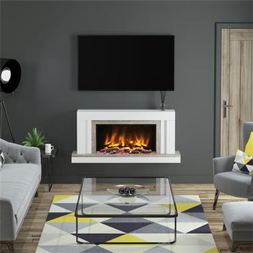 """Elgin & Hall 53"""" Pryzm Vardo 5D Wall Mounted Electric Suite Ash White with Oak Grey"""