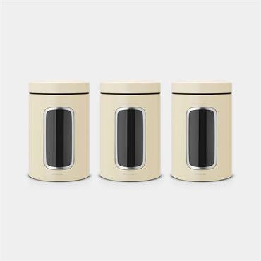 Brabantia Window Canister Almond 3pk