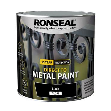 Ronseal Direct To Metal Blk Gloss 250ml