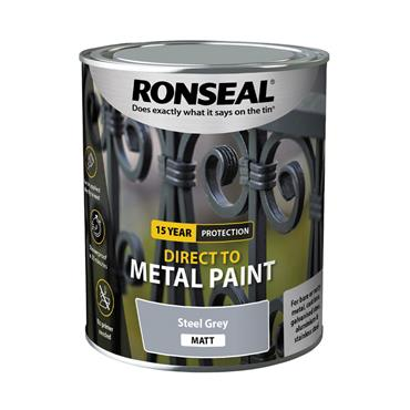 Ronseal Direct To Metal Steel Grey Matt 250ml