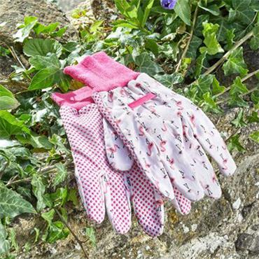Smart Garden Flamboya Flamingo Cotton Grips Gloves Medium Size 8
