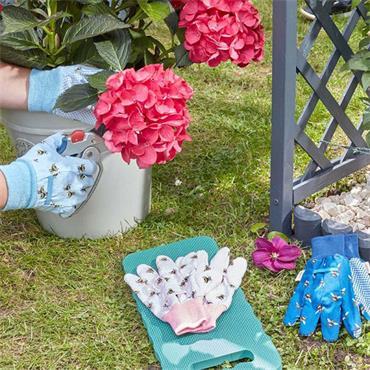 Smart Garden Cotton Grips Gloves Bees Triple Pack Medium Size 8