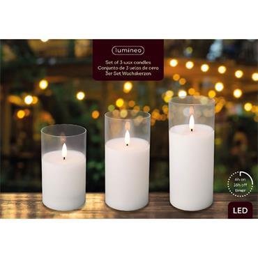 Kaemingk LED Wax White Candle In Clear Glass 3pk