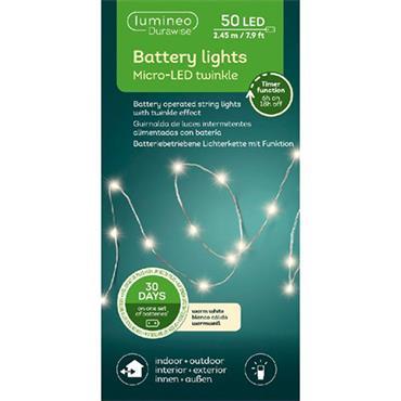 Kaemingk 50 Warm White Micro LED Durawise Twinkle Battery Lights