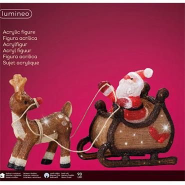 Kaemingk 47cm LED Acrylic Outdoor Santa & Reindeer