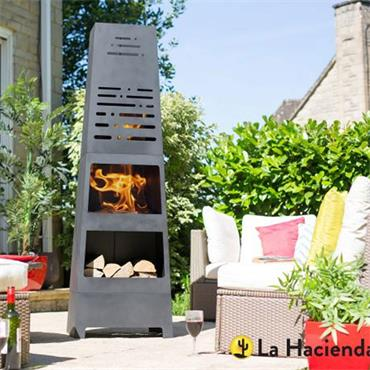 La Hacienda Morse Steel Chimnea with Logstore
