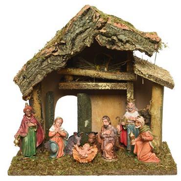 Kaemingk  Nativity House With 8 Figures
