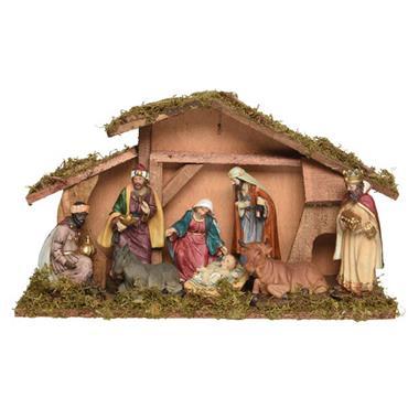 Kaemingk 40cm MDF Nativity House & Figures