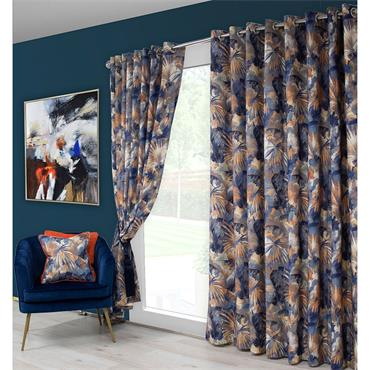 Scatter Box Aria Blue / Orange Ready Made Curtains