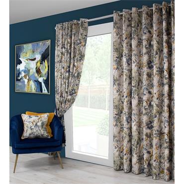 Scatter Box Seren Blue / Ochre Ready Made Curtains