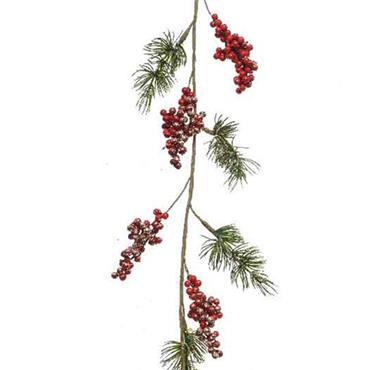 Kaemingk 110cm Foam Glitter Red Berries Garland