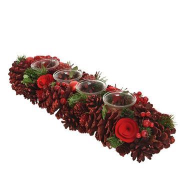 Kaemingk 47cm Pinecone Tealightholder Tablepiece Red Berries