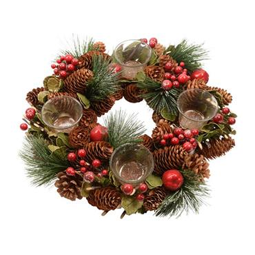 Kaemingk 33cm Pinecone Wreath & 4 Tealightholders