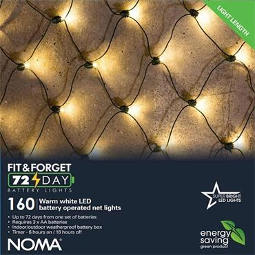 Noma 160 Warm White LED Fit & Forget Battery Net Lights
