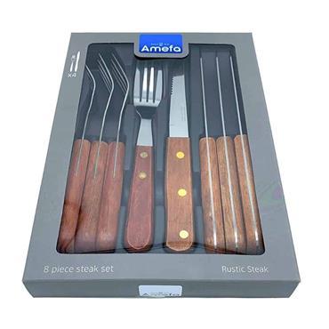 Amefa Wood Steak Knife & Fork Set 8pce