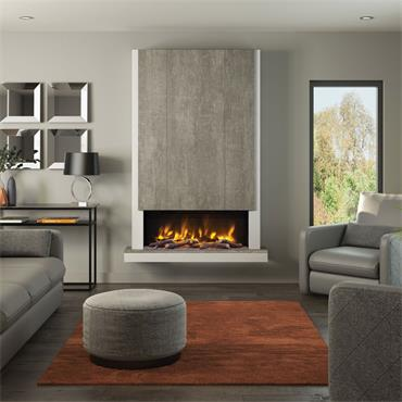 """Elgin & Hall 53"""" Pryzm Camino Chimney Breast Electric Suite Ash Whit with Chicago Concrete"""