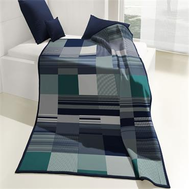 Biederlack Throw Abstract Check Blue