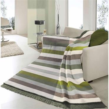 Biederlack Throw Block Stripe Green