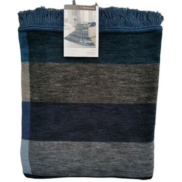 Biederlack Throw Block Stripe Blue