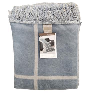 Biederlack Cotton Home PlusThrow Grid Check Blue 150 x 200