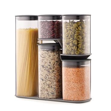 Joseph Joseph 5pce Storage Jar Set with Stand Grey