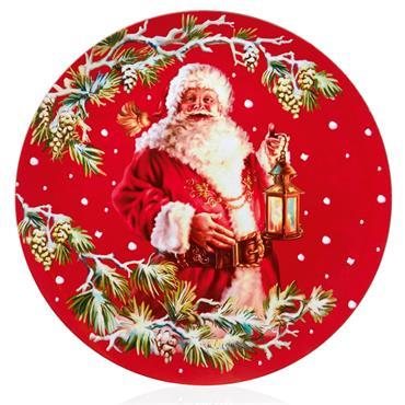 Glossy Red Santa Plate 40cm