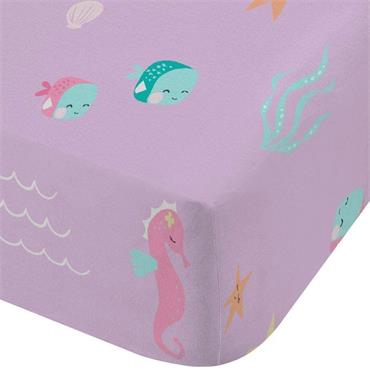 Lets Be Mermaids Pink Fitted Sheet Single