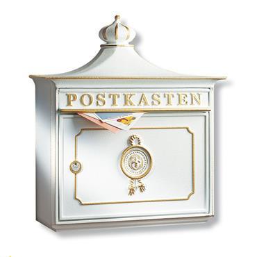Burg Wachter Post Box Bordeaux White Cast Aluminium