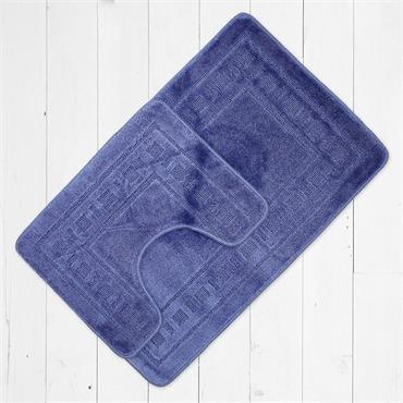 Catherine Lansfield Armoni Bath Mat & Pedestal Mat Set Blue