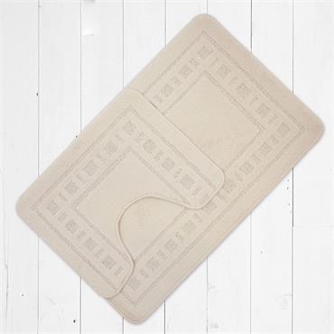 Catherine Lansfield Armoni Bath Mat & Pedestal Mat Set Cream