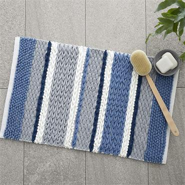 Catherine Lansfield Textured Stripe Blue Bath Mat