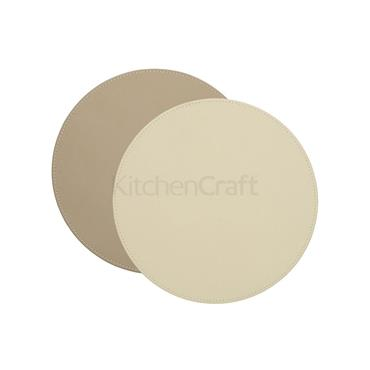 Creative Tops Premium  Faux Leather Pk4   Round  Placemats Cream/taupe