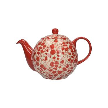 London Pottery Splash Red Four Cup Globe Teapot