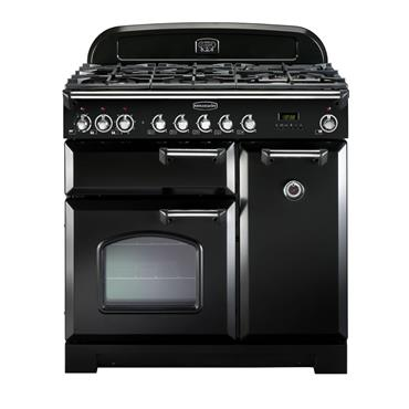 Rangemaster Classic Deluxe 110 Dual Fuel Black with Chrome