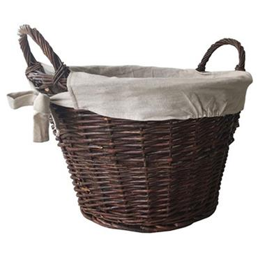 Castle Living Round Willow Log Basket With Lining