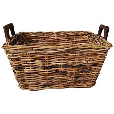 Castle Living Rectangle Rattan Log Basket With Wooden Handles