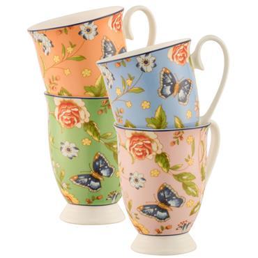 Cottage Garden 4 Footed Mugs Set