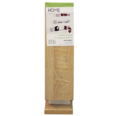 Core Floating U Shelves Oak Finish 3pk