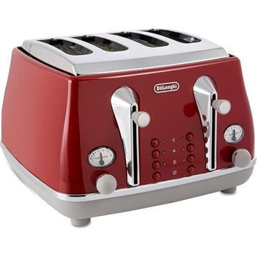 Delonghi Icona 4 Slice Toaster Red