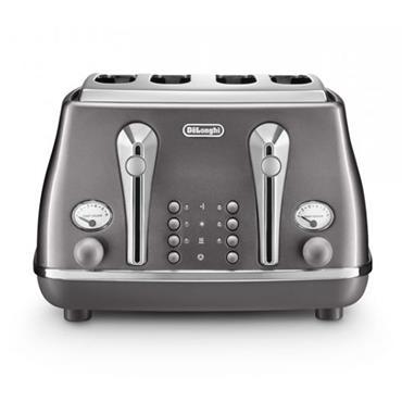 Delonghi Icona Metallics 4-Slice Grey Toaster