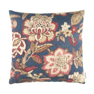 Sanderson Indra Flower Cushion Indigo Cherry 50x50