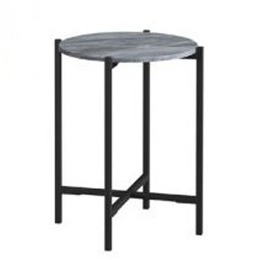 Shoreditch Round Side Table   Grey Marble
