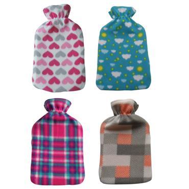 De Vielle Assorted Luxury Fleece Hot Water Bottle