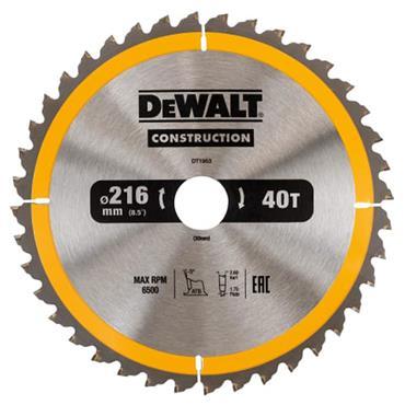 Dewalt Stationary Construction Circular Saw Blade 216 x 30mm x 40T ATB/Neg